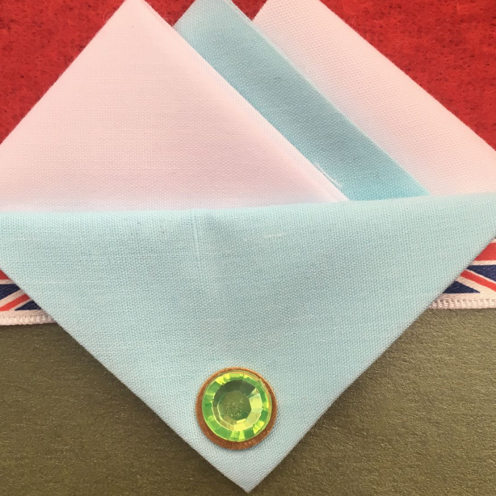 White and Baby Blue Hankie With Baby Blue Flap and Pin